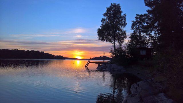 View towards the Sauna at sunset